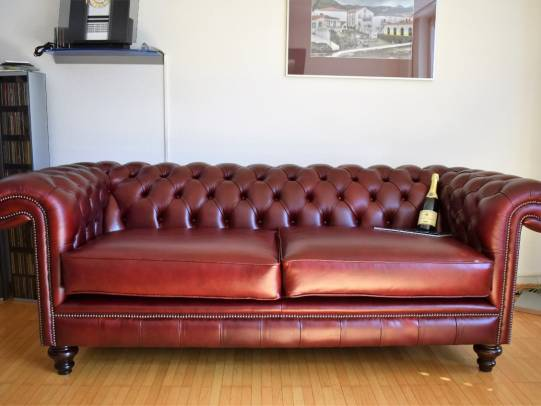 Chesterfield Allingham 3er-Sofa in Leder Heritage Farbe Wine