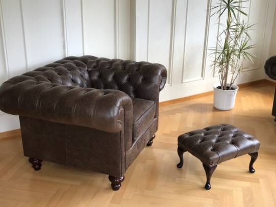 Chesterfield Raleigh Chair im Leder Rimini Chocolate