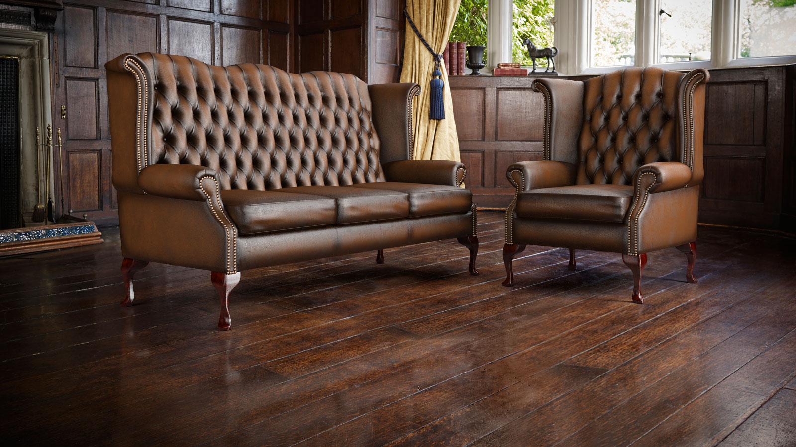 original englische chesterfield ohrensofas und ohrensessel. Black Bedroom Furniture Sets. Home Design Ideas